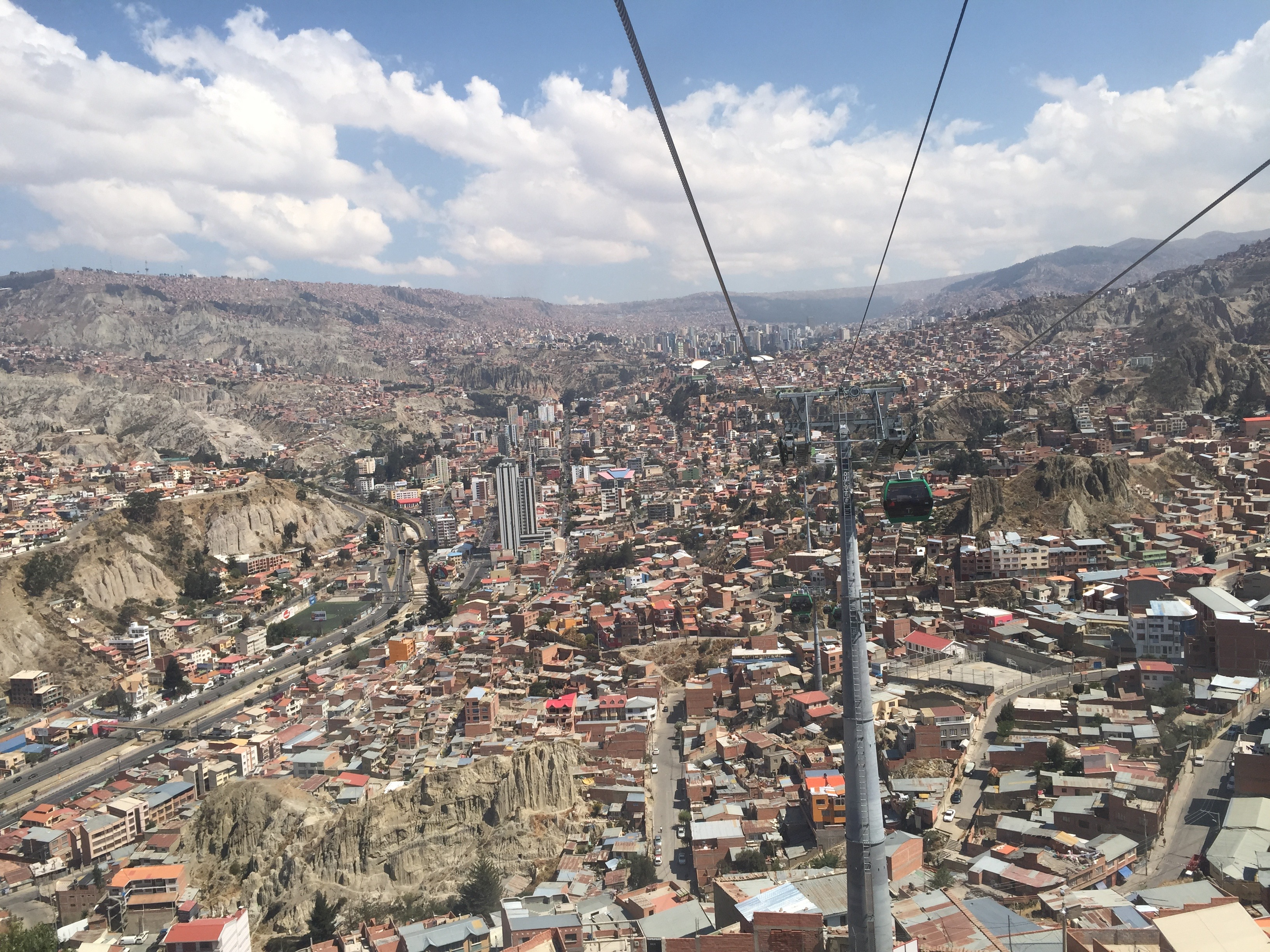 the view from mi teleferico la paz bolivia green line