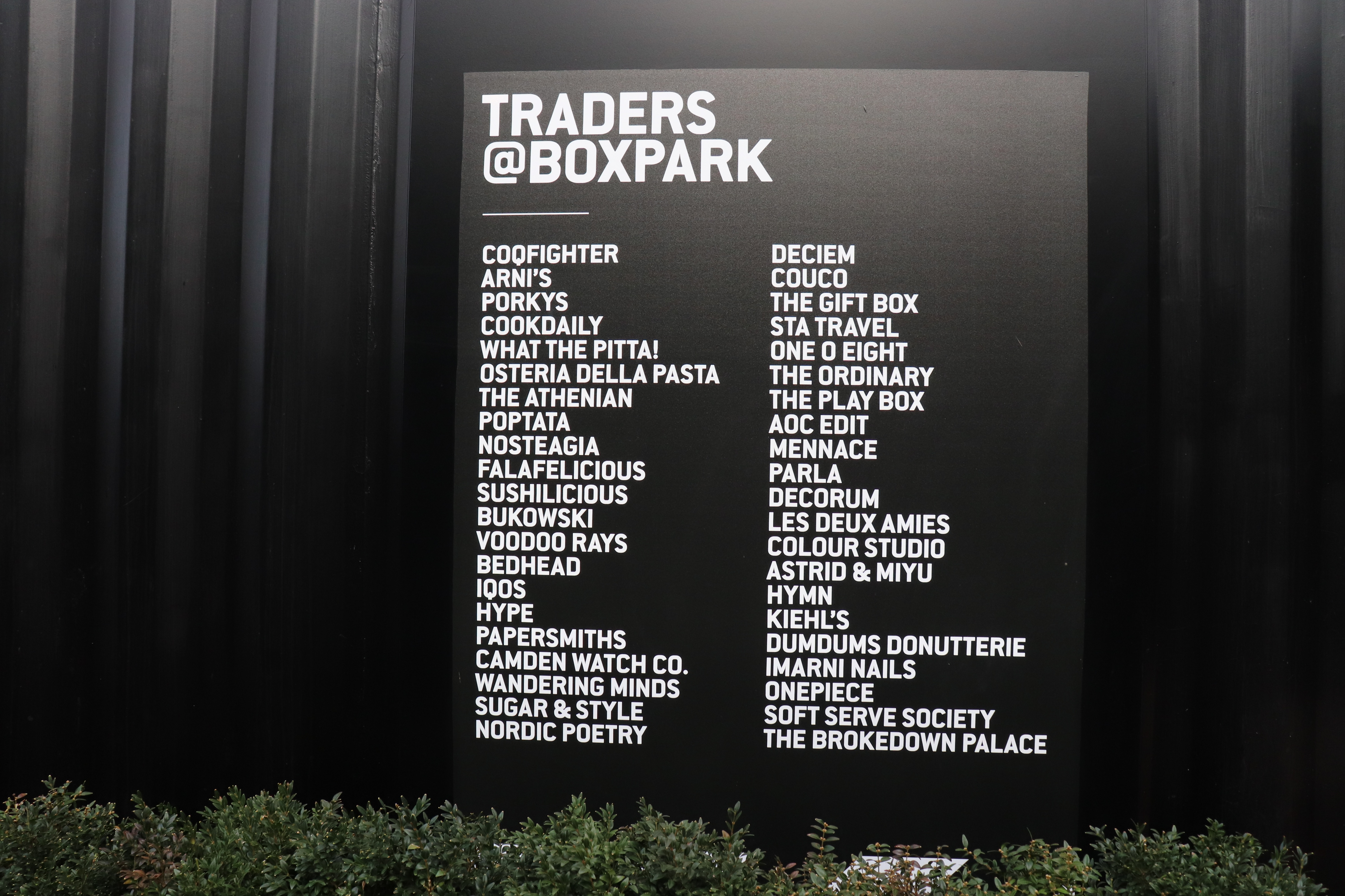 A List of Boutiques and Eateries at BOXPARK, Shoreditch