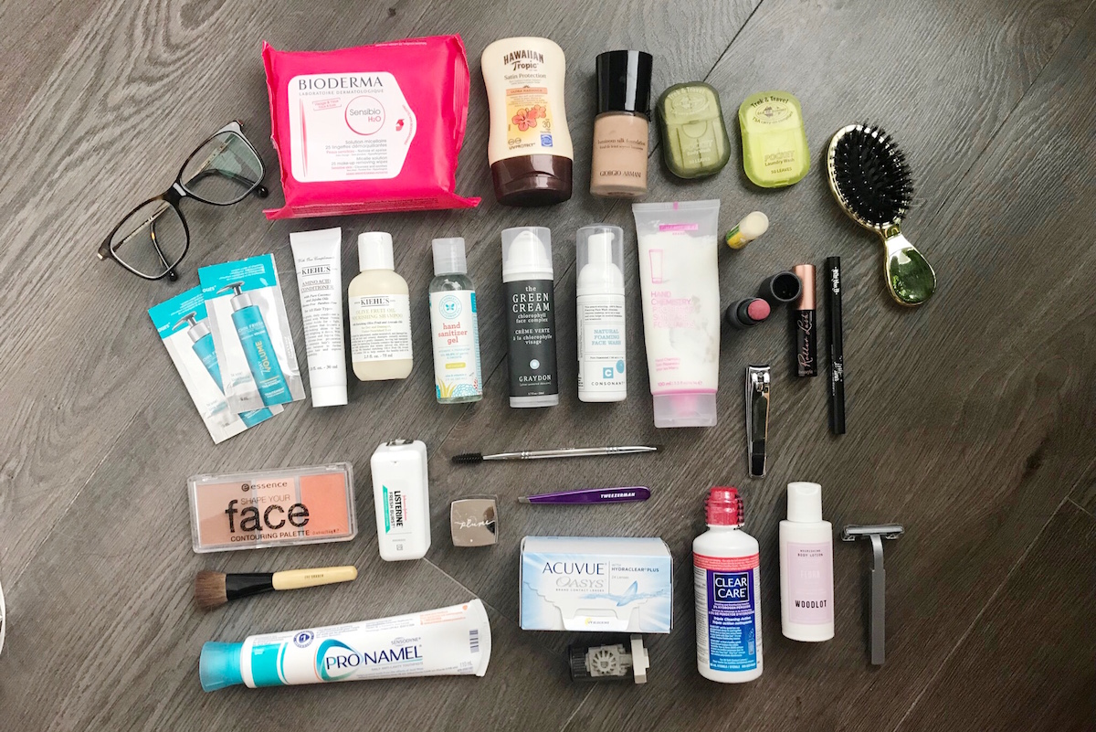 packing beauty products for a round the world trip