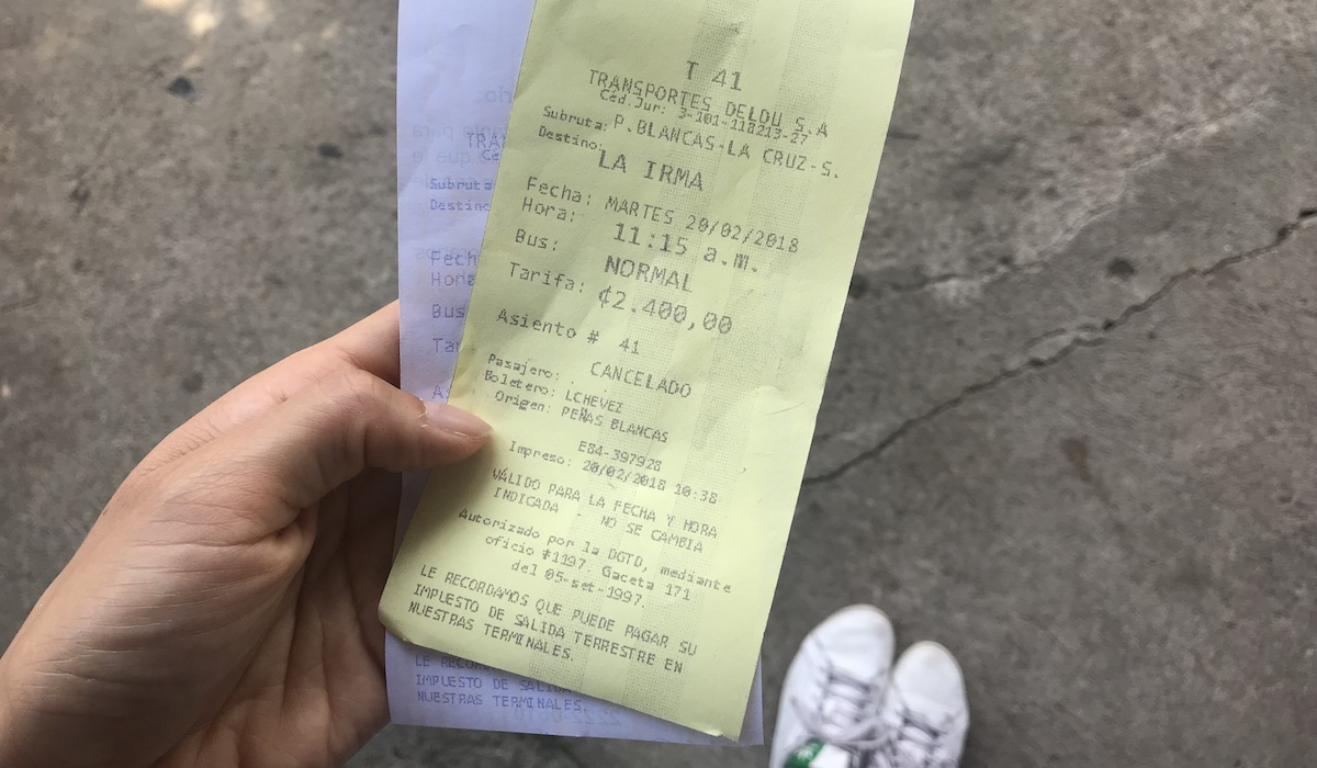 Bus ticket to La Irma