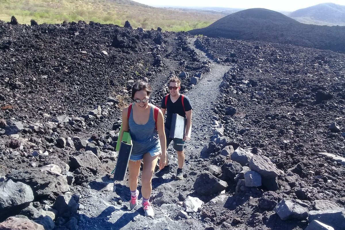 At the beginning of the hike up Cerro Negro with our Volcano Boards