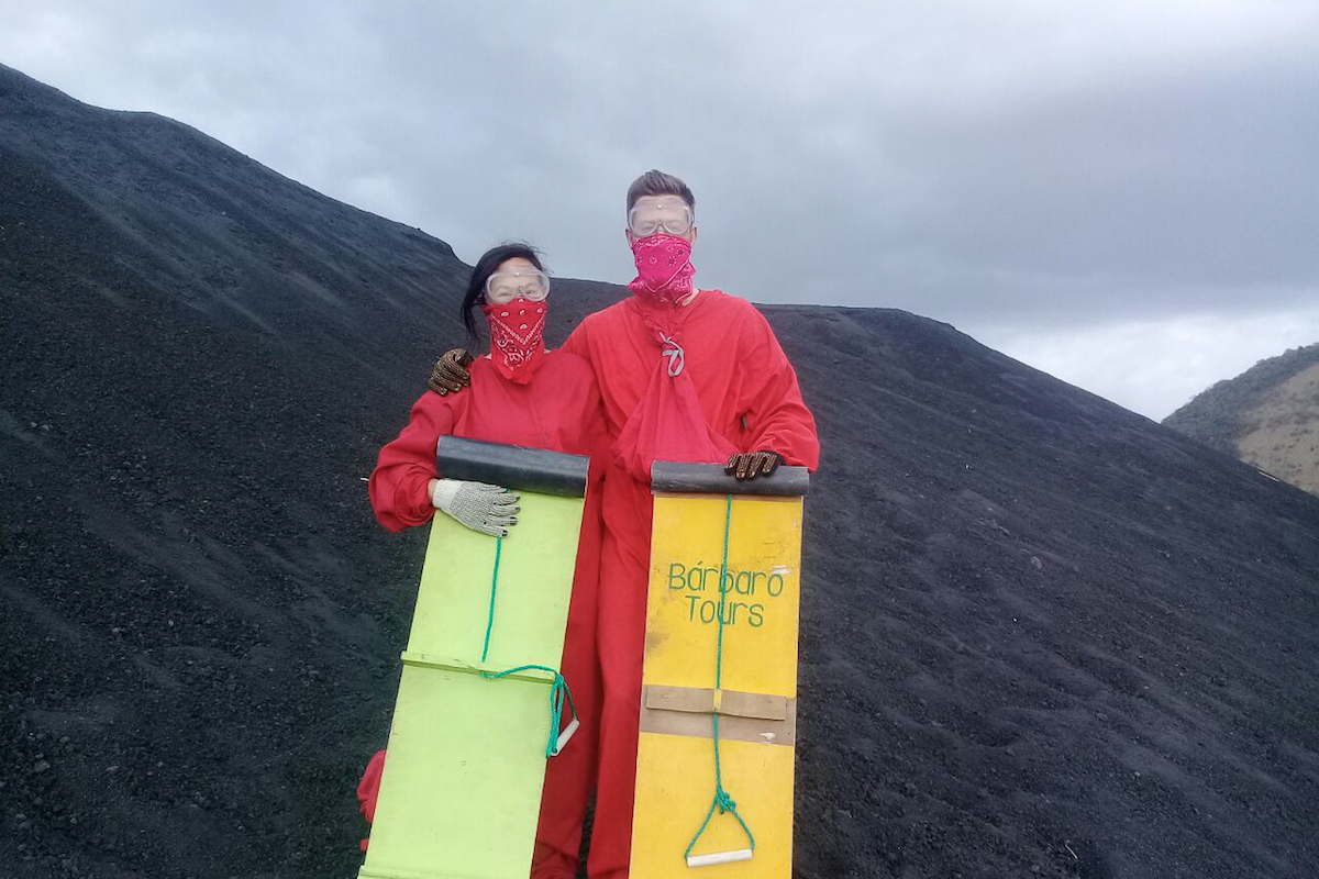 Ready to go Volcano Boarding down Cerro Negro