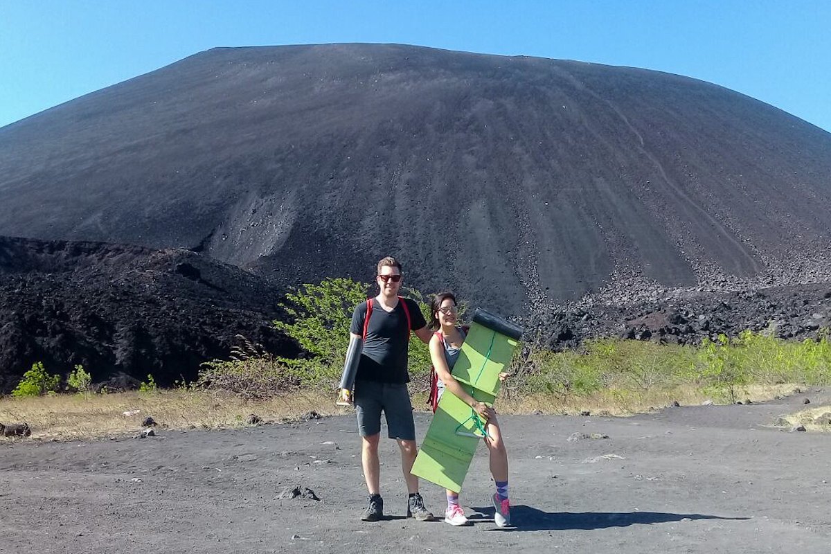 At the base of Cerro Negro for Volcano Boarding Down an Active Volcano in Nicaragua