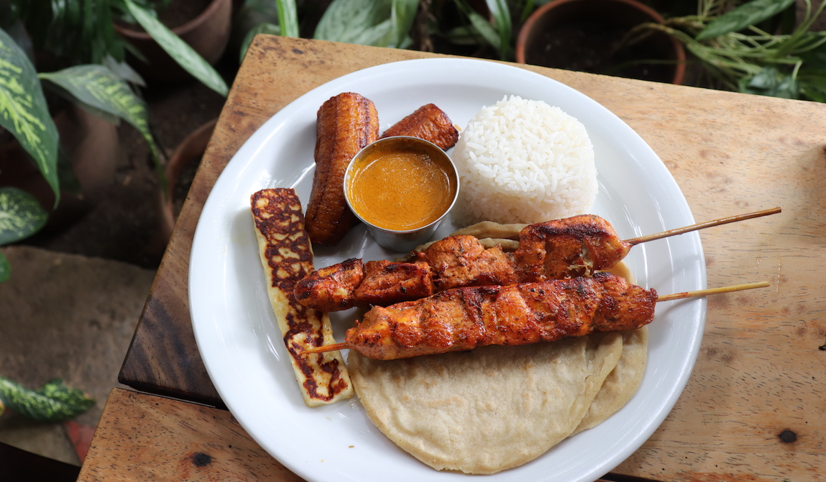 Indio Nuevo chicken skewer dish from The Garden Cafe in Granda, Nicaragua