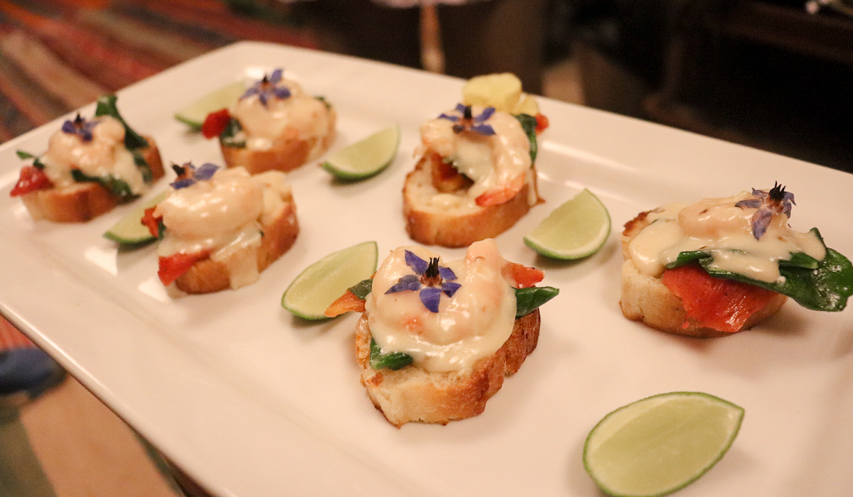 Prawn Bruchetta at Marcelo Batata Cooking Class in Cusco, Peru