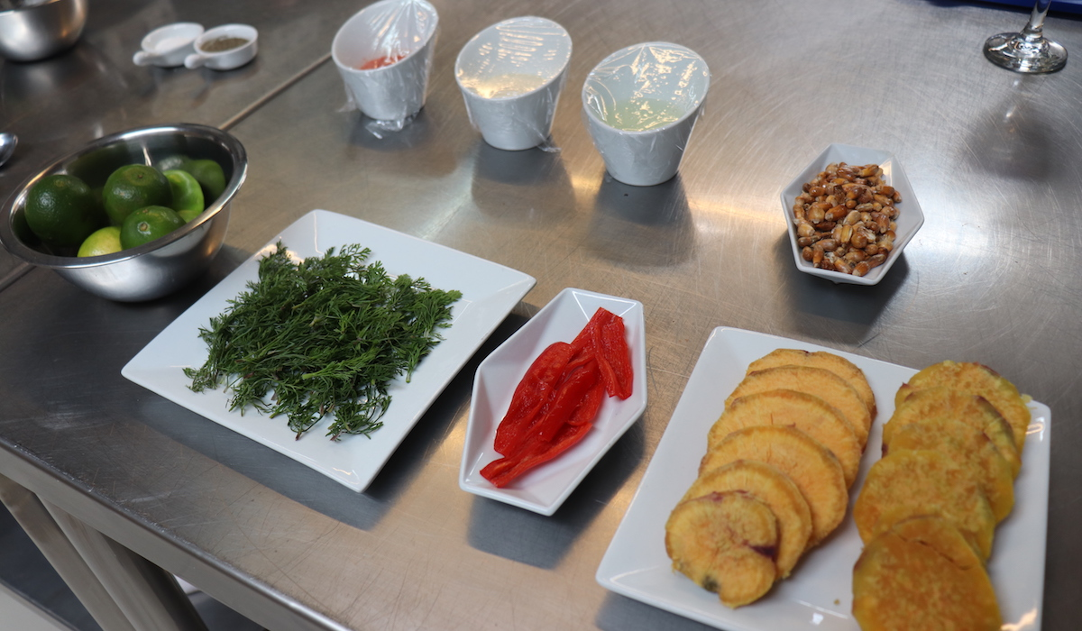 Prepped Ingredients for Making Ceviche at Marcelo Batata Cooking Class Cusco, Peru