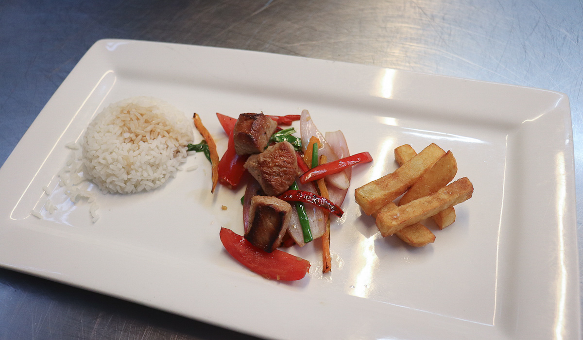 Lomo Saltado with Alpaca at Marcelo Batata Cooking Class in Cusco, Peru