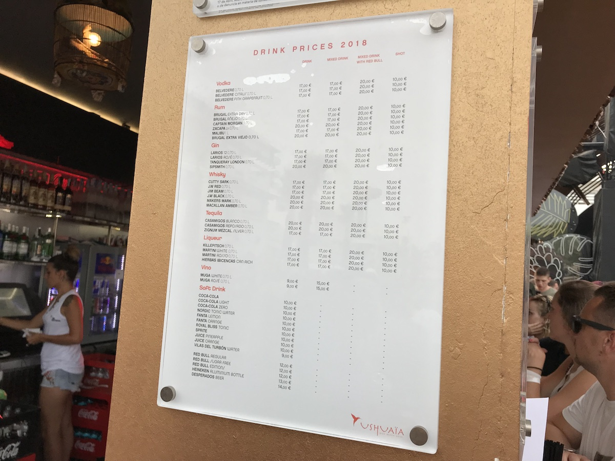 Drink Prices at Ushuaia Ibiza