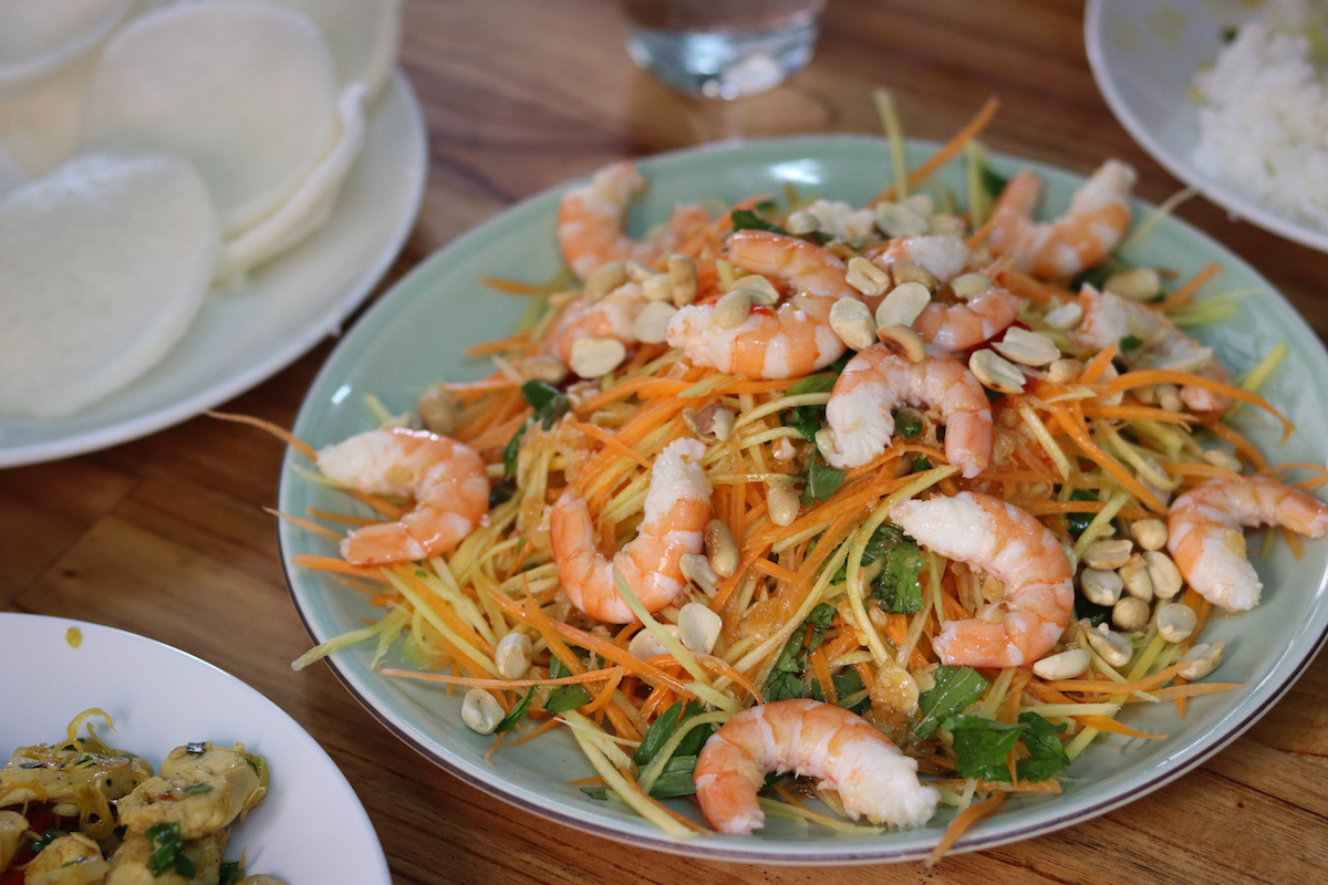 Hue Vietnam Cooking Class Green Mango Salad with Prawns